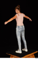 Isla blue jeans casual dressed pink t shirt standing t poses white sneakers whole body 0004.jpg
