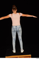 Isla blue jeans casual dressed pink t shirt standing t poses white sneakers whole body 0005.jpg