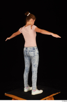 Isla blue jeans casual dressed pink t shirt standing t poses white sneakers whole body 0006.jpg
