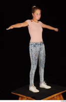 Isla blue jeans casual dressed pink t shirt standing t poses white sneakers whole body 0008.jpg