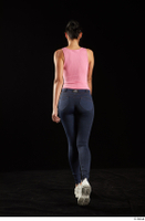 Lee Anne Lace  1 back view dressed jeans leggings pink bodysuit walking white sneakers whole body 0005.jpg