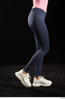 Lee Anne Lace  1 calf dressed flexing jeans leggings side view white sneakers 0001.jpg