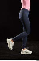 Lee Anne Lace  1 calf dressed flexing jeans leggings side view white sneakers 0002.jpg