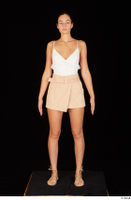 Leanne Lace casual dressed pink shorts sandals shoes standing white bodysuit whole body 0001.jpg
