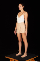 Leanne Lace casual dressed pink shorts sandals shoes standing white bodysuit whole body 0002.jpg