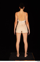 Leanne Lace casual dressed pink shorts sandals shoes standing white bodysuit whole body 0005.jpg