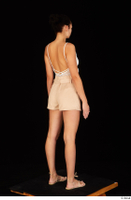 Leanne Lace casual dressed pink shorts sandals shoes standing white bodysuit whole body 0006.jpg