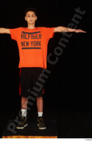 Danior black shorts black sneakers dressed orange t shirt shoes sports standing t poses whole body 0001.jpg