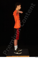 Danior black shorts black sneakers dressed orange t shirt shoes sports standing t poses whole body 0007.jpg