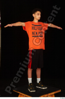 Danior black shorts black sneakers dressed orange t shirt shoes sports standing t poses whole body 0008.jpg