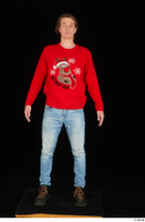 Ricky Rascal casual dressed jeans red sweater shoes standing whole body 0001.jpg