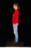 Ricky Rascal casual dressed jeans red sweater shoes standing whole body 0003.jpg