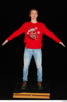 Ricky Rascal casual dressed jeans red sweater shoes standing whole body 0009.jpg
