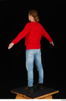 Ricky Rascal casual dressed jeans red sweater shoes standing whole body 0012.jpg