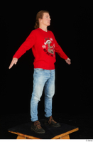 Ricky Rascal casual dressed jeans red sweater shoes standing whole body 0016.jpg