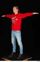 Ricky Rascal casual dressed jeans red sweater shoes standing t poses whole body 0002.jpg