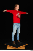 Ricky Rascal casual dressed jeans red sweater shoes standing t poses whole body 0008.jpg