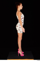 Katy Rose casual dressed pink high heels shoes standing white dress whole body 0007.jpg