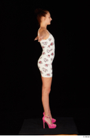 Katy Rose casual dressed pink high heels shoes t poses white dress whole body 0007.jpg