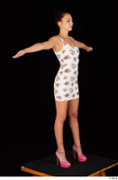 Katy Rose casual dressed pink high heels shoes t poses white dress whole body 0008.jpg