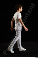 Duke  1 dressed jogging suit side view sports sweatsuit t shirt walking whole body 0005.jpg