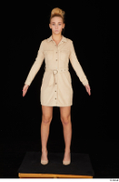 Jenny Wild beige dress business dressed high heels standing whole body 0001.jpg