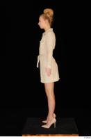 Jenny Wild beige dress business dressed high heels standing whole body 0003.jpg