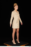 Jenny Wild beige dress business dressed high heels standing whole body 0008.jpg