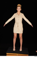 Jenny Wild beige dress business dressed high heels standing whole body 0009.jpg