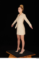 Jenny Wild beige dress business dressed high heels standing whole body 0010.jpg