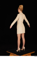 Jenny Wild beige dress business dressed high heels standing whole body 0012.jpg