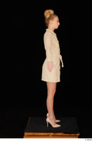 Jenny Wild beige dress business dressed high heels standing whole body 0015.jpg