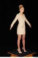 Jenny Wild beige dress business dressed high heels standing whole body 0016.jpg