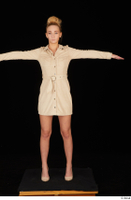 Jenny Wild beige dress business dressed high heels standing t poses whole body 0001.jpg