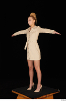 Jenny Wild beige dress business dressed high heels standing t poses whole body 0002.jpg