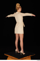 Jenny Wild beige dress business dressed high heels standing t poses whole body 0006.jpg