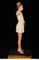Jenny Wild beige dress business dressed high heels standing t poses whole body 0007.jpg