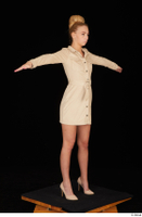 Jenny Wild beige dress business dressed high heels standing t poses whole body 0008.jpg