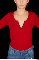 Jenny Wild casual dressed long sleeve t shirt red bodysuit upper body 0001.jpg