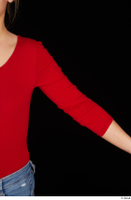Jenny Wild arm casual dressed long sleeve t shirt red bodysuit upper body 0002.jpg