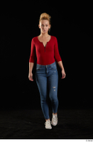 Jenny Wild  1 casual dressed front view jeans long sleeve t shirt red bodysuit shoes sneakers walking whole body 0003.jpg
