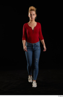 Jenny Wild  1 casual dressed front view jeans long sleeve t shirt red bodysuit shoes sneakers walking whole body 0005.jpg