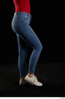 Jenny Wild  1 casual dressed flexing jeans leg shoes side view sneakers 0002.jpg