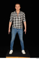 Stanley Johnson casual dressed jeans shirt sneakers standing whole body 0001.jpg