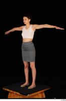 Tiny Tina brown ballerina shoes casual dressed grey skirt pink top standing t poses whole body 0002.jpg
