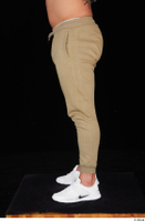Grigory brown sweatpants dressed leg lower body sports white sneakers 0003.jpg