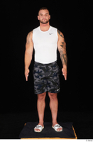Grigory camo shorts dressed slippers sports standing white tank top whole body 0001.jpg