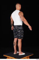 Grigory camo shorts dressed slippers sports standing white tank top whole body 0014.jpg