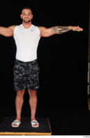 Grigory camo shorts dressed slippers sports standing t poses white tank top whole body 0001.jpg