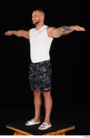 Grigory camo shorts dressed slippers sports standing t poses white tank top whole body 0002.jpg
